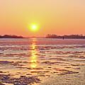 The Golden Hour And Ice Drift by Marina Usmanskaya