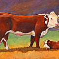 The Good Mom Folk Art Hereford Cow And Calf by Toni Grote