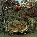 The Hungry Lion Attacking An Antelope by Henri Rousseau