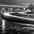 The Icy Charles River At Night Boston Ma Cambridge Black And White by Toby McGuire