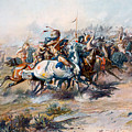 The Indian Encirclement Of General Custer At The Battle Of The Little Big Horn by Charles Marion Russell