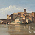 The Island And Bridge Of San Bartolomeo - Rome by Jean-baptiste-camille Corot