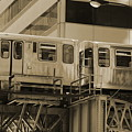 The L Downtown Chicago In Sepia by Colleen Cornelius
