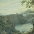 The Lake Of Nemi And The Town Of Genzano by John Robert Cozens