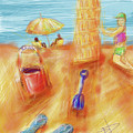 The Leaning Sand Castle by Russell Pierce
