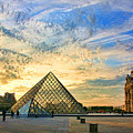 The Louvre At Sunset by Chuck Kuhn