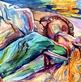The Lovers Watercolor by Suzann Sines