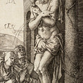 The Man Of Sorrows By The Column With The Virgin And St. John  by Albrecht Durer