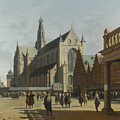 The Market Place And The Grote Kerk At Haarlem by PixBreak Art
