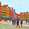 The Market Place In Bruges Belgium by Digital Photographic Arts