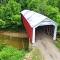 The Mcallister Covered Bridge - Ariel View by Harold Rau