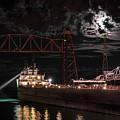 The Michipicoten's Departure Under A Full Moon by Christine Douglas