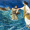 The Miracles Of Jesus Walking On Water  by Clive Uptton