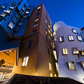 The Mit Stata Center At Night Kendall Square Cambirdge Ma Moon Front by Toby McGuire