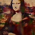 The Mona Lisa Colorful Watercolor Portrait On Worn Canvas by Design Turnpike