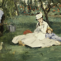 The Monet Family In Their Garden At Argenteuil by douard Manet