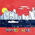 The Motor City - Detroit Michigan Skyline License Plate Art By Design Turnpike by Design Turnpike