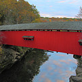 The Narrows Covered Bridge At Dusk by Greg Matchick