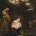 The Nativity With The Annunciation To The Shepherds Beyond by Bartolome Esteban Murillo