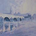 The Old Bridge In Morning Fog Maastricht by Nop Briex