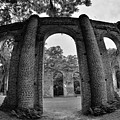 The Old Sheldon Church Ruins Black And White 2 by Lisa Wooten