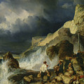 The Onslaught Of The Smugglers by Louis Eugene Gabriel Isabey