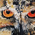 The Owl Of Lakshmi Textured Painting_0476 by Eraclis Aristidou