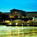 The Philadelphia Art Museum And Waterworks At Night by Bill Cannon