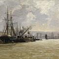 The Port Of Rouen by Haes Carlos De