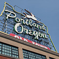 The Portland Oregon Sign Aka The White Stag Sign In Portland Oregon 5d3425 by Wingsdomain Art and Photography