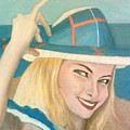 The Pretty Blonde Holds Her Hat Down On Her Head by Peter Gartner