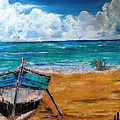 The Resting Boat And The Beach Holidays by Neeraj Raina
