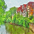 The River Neckar Flowing Through Tubingen Germany by Digital Photographic Arts