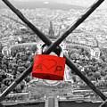 The Romantically Love Inscribed Padlocks On The Eiffel Tower, Pa by Cranach Studio