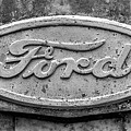 The Rusty Ford Emblem Black And White by JC Findley