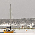 The Sailboat Korovin Is Moored In A Mostly Frozen Stage Harbor I by Matt Suess