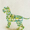 The Schnauzer Dog Watercolor Painting / Typographic Art by Inspirowl Design