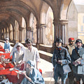 The Scottish Women's Hospital - In The Cloister Of The Abbaye At Royaumont. by Norah Neilson Gray