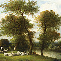The Shepherd's Break With  His Sheep by Leon-Victor Dupre