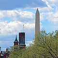 The Smithsonian Castle And Washington Monument In Green by Cora Wandel