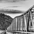 The South Llano River Bridge Black And White by JC Findley