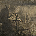The Spinning Wheel  by Giovanni Segantini