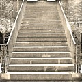 The Stairs At Fort Macon North Carolina Black And White by Lisa Wooten