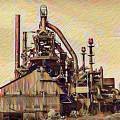 The Steel Stacks Watercolor by Bill Cannon