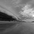 The Storm Rolling In To Good Harbor Beach Gloucester Ma Black And White by Toby McGuire