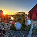 The Sun Rising By Motif 1 In Rockport Ma Bearskin Neck Lobster Traps by Toby McGuire