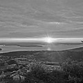 The Sunrise From Cadillac Mountain In Acadia National Park Black And White by Toby McGuire