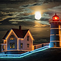 The Supermoon Rising Over The Nubble Lighthouse York Maine by Toby McGuire