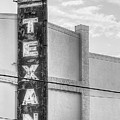 The Texan Theater Marquee In Black And White by JC Findley
