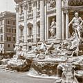The Trevi Fountain In Sepia Tones by Eduardo Jose Accorinti